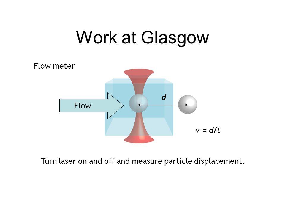 Work at Glasgow Flow meter d Flow v = d/t