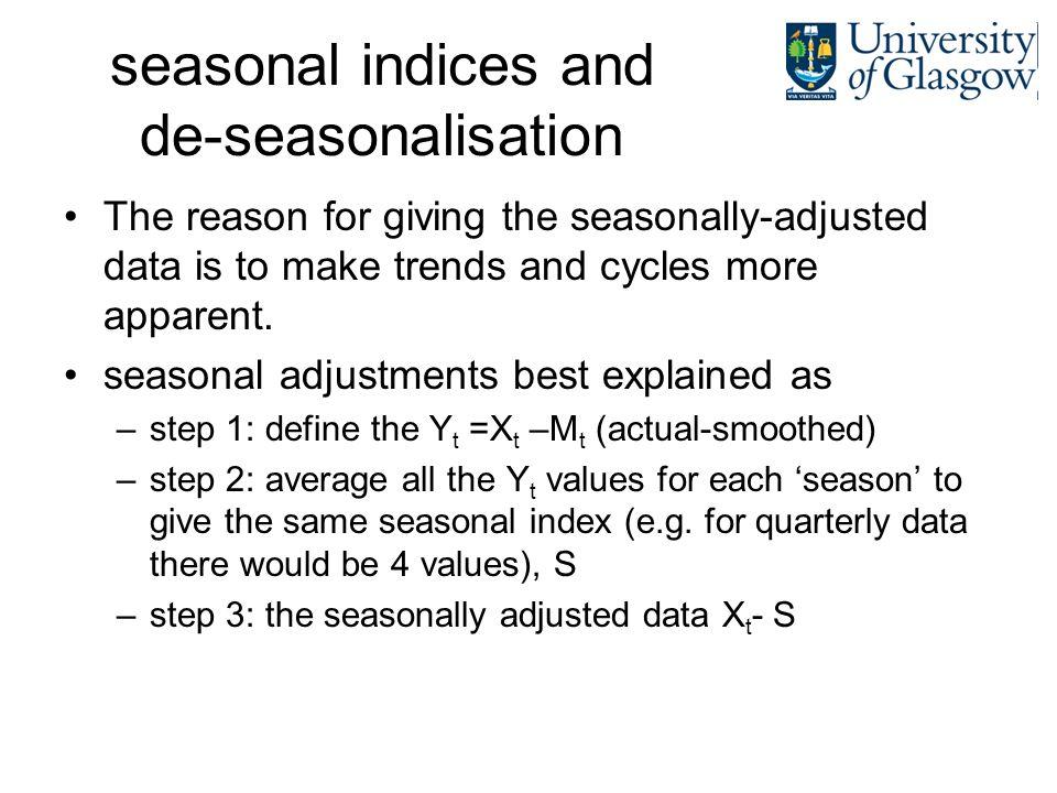 seasonal indices and de-seasonalisation