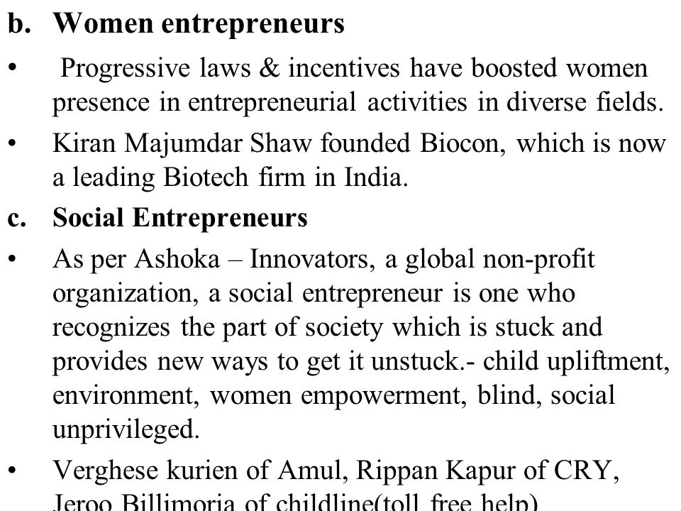 concept of women entrepreneurs Social and demographic statistics section , unece the status of women and men's entrepreneurship in the unece region these concepts are defined and put into the.