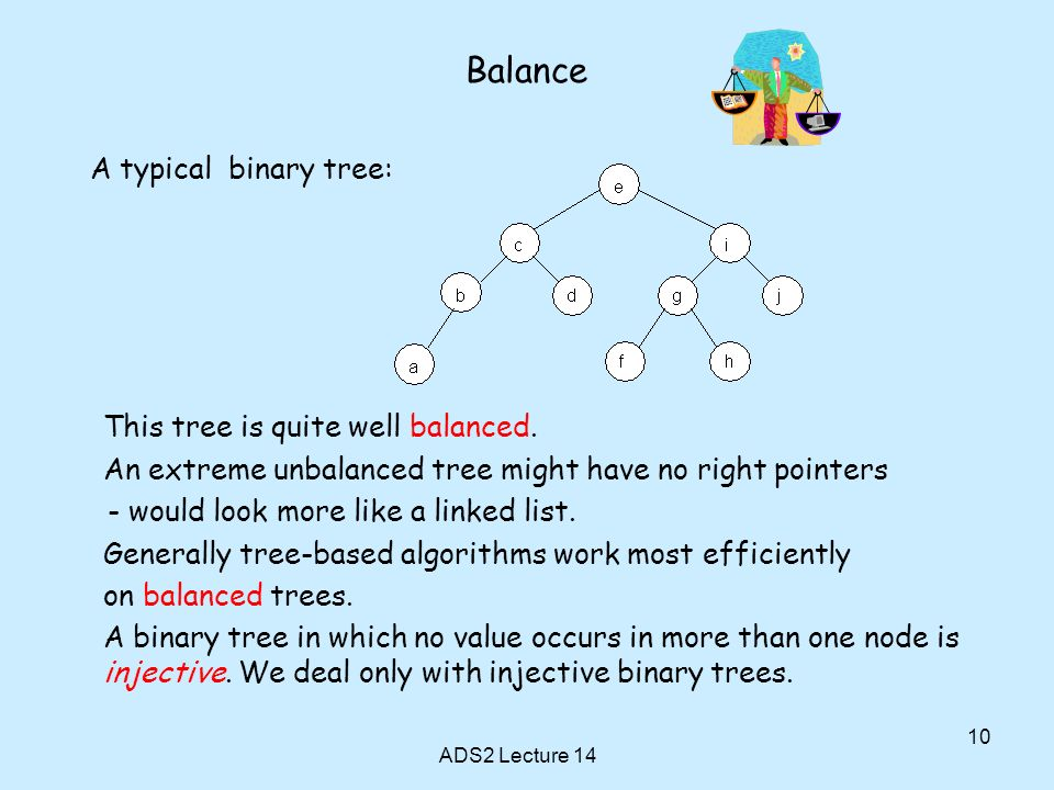 Balance A typical binary tree: This tree is quite well balanced.