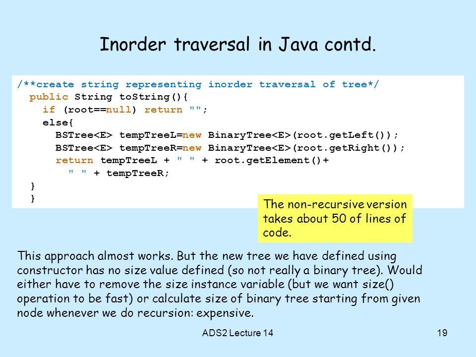 Inorder traversal in Java contd.