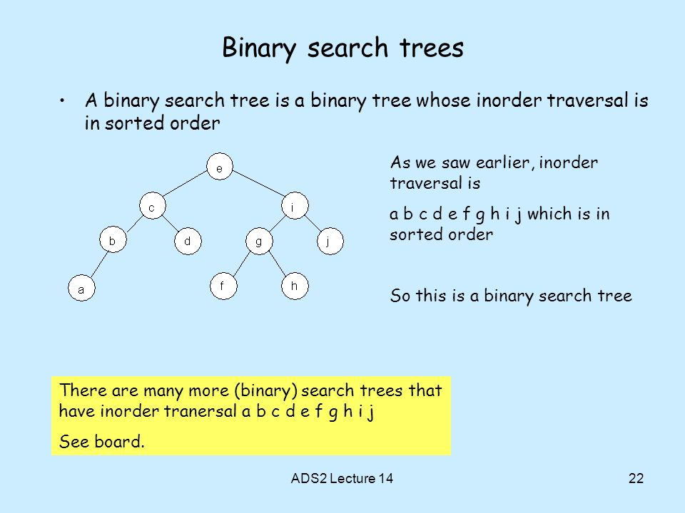 Binary search trees A binary search tree is a binary tree whose inorder traversal is in sorted order.