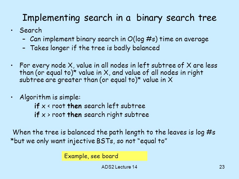 Implementing search in a binary search tree