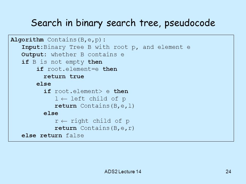 Search in binary search tree, pseudocode