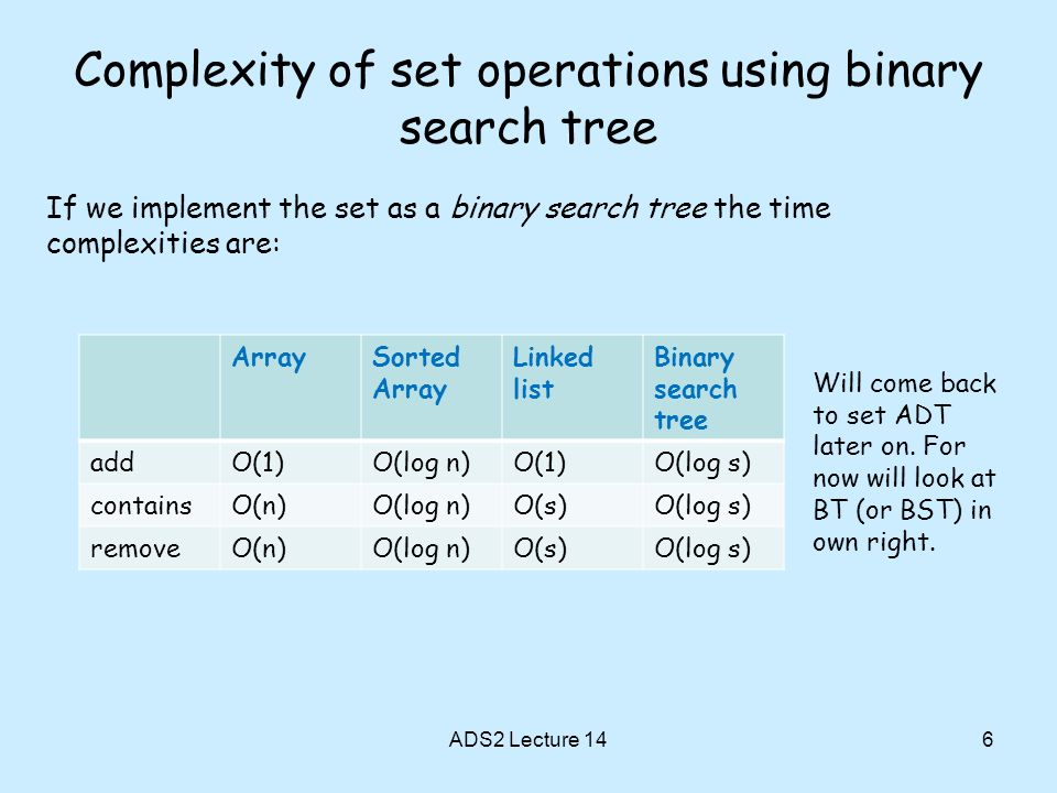 Complexity of set operations using binary search tree