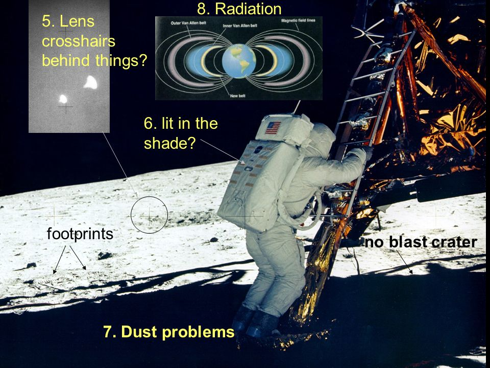 8. Radiation 5. Lens crosshairs behind things 6. lit in the shade footprints. no blast crater.