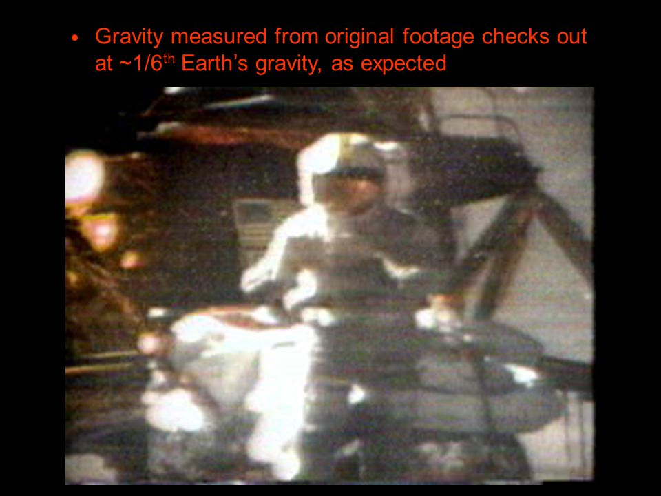 Gravity measured from original footage checks out at ~1/6th Earth's gravity, as expected