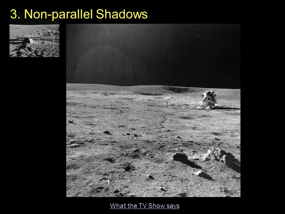 3. Non-parallel Shadows What the TV Show says