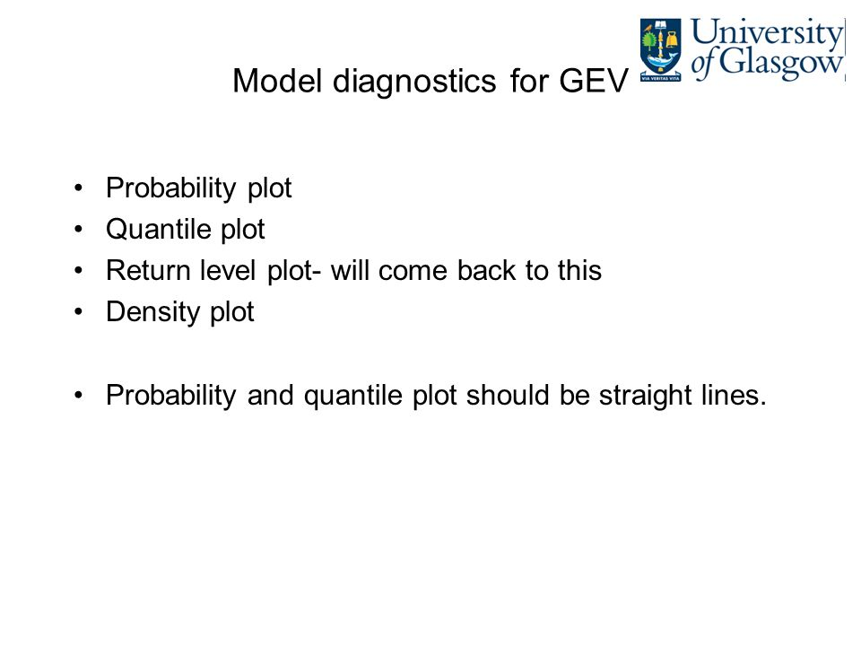 Model diagnostics for GEV