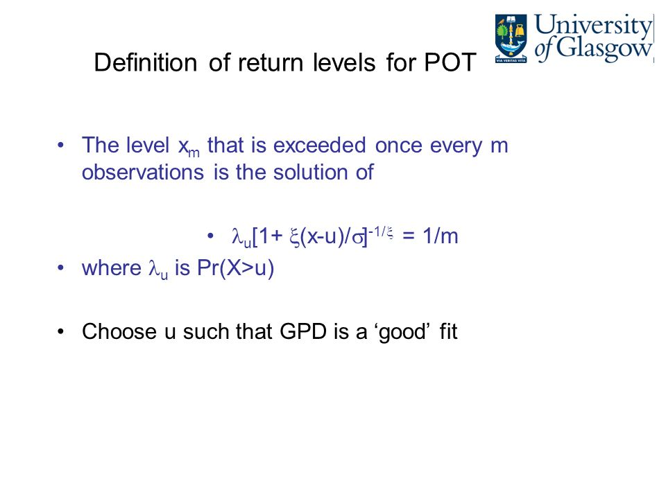 Definition of return levels for POT