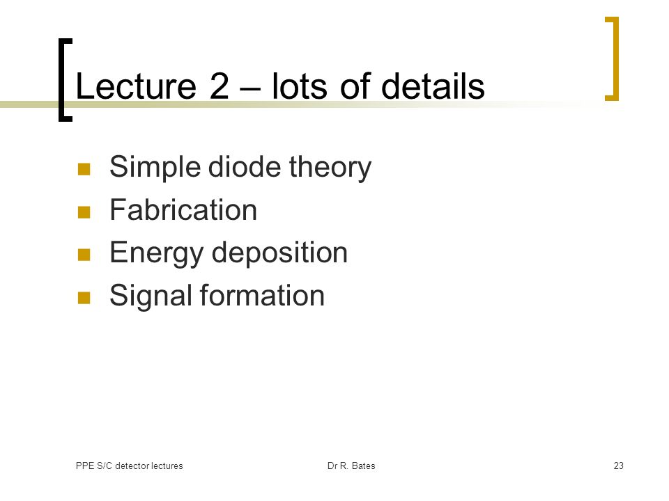 Lecture 2 – lots of details