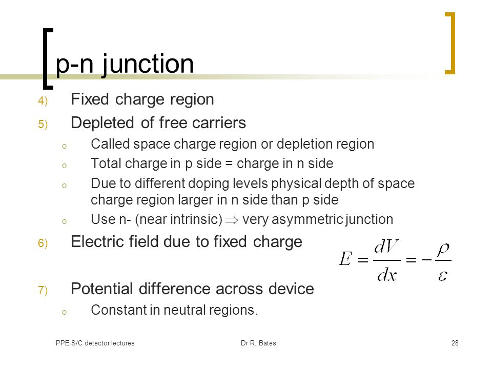 p-n junction Fixed charge region Depleted of free carriers