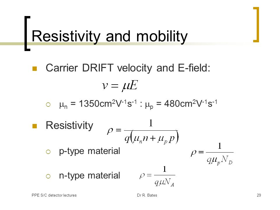 Resistivity and mobility