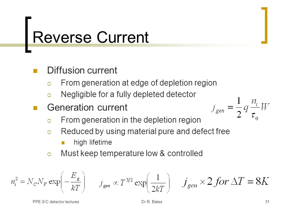 Reverse Current Diffusion current Generation current