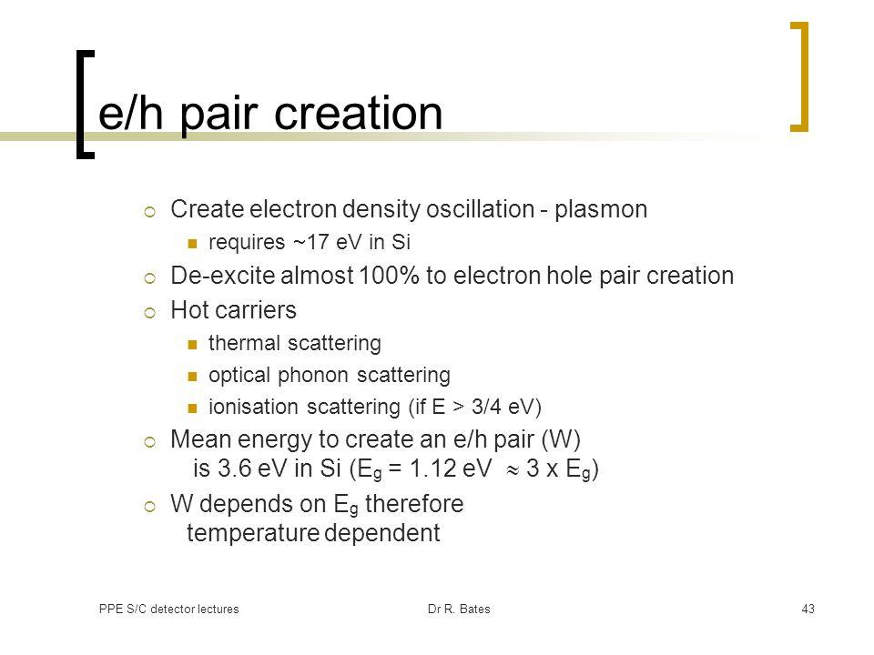 e/h pair creation Create electron density oscillation - plasmon