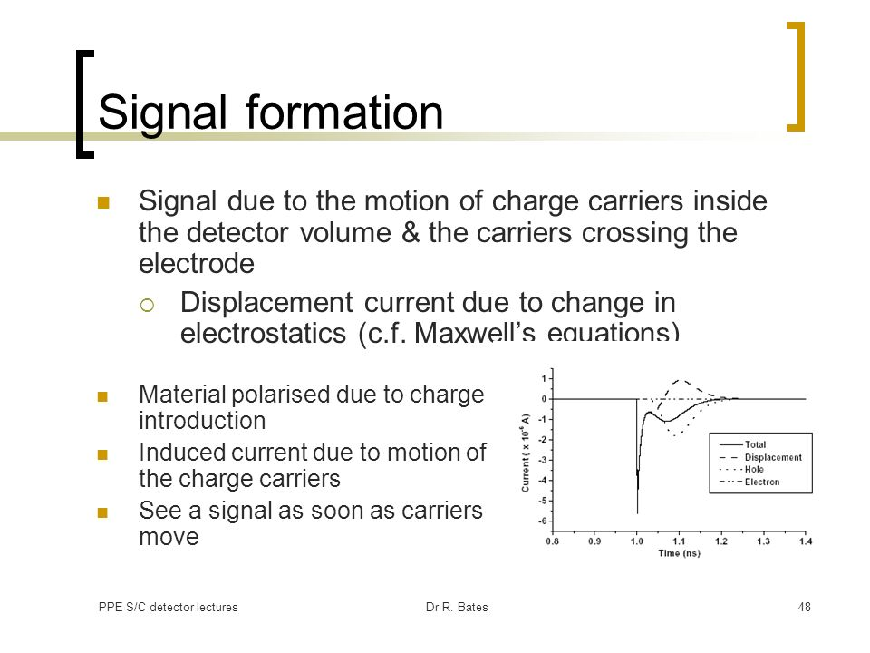 Signal formation Signal due to the motion of charge carriers inside the detector volume & the carriers crossing the electrode.