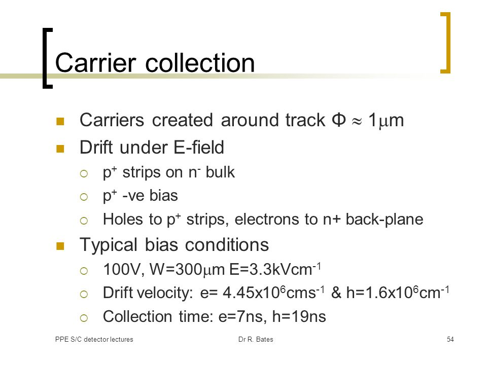 Carrier collection Carriers created around track Φ  1mm