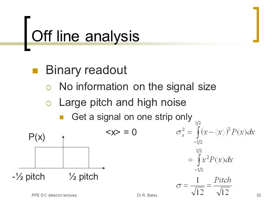 Off line analysis Binary readout No information on the signal size