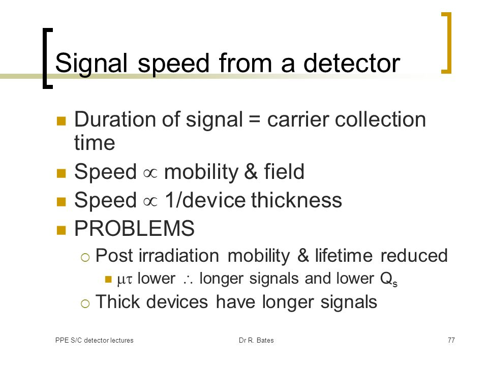 Signal speed from a detector