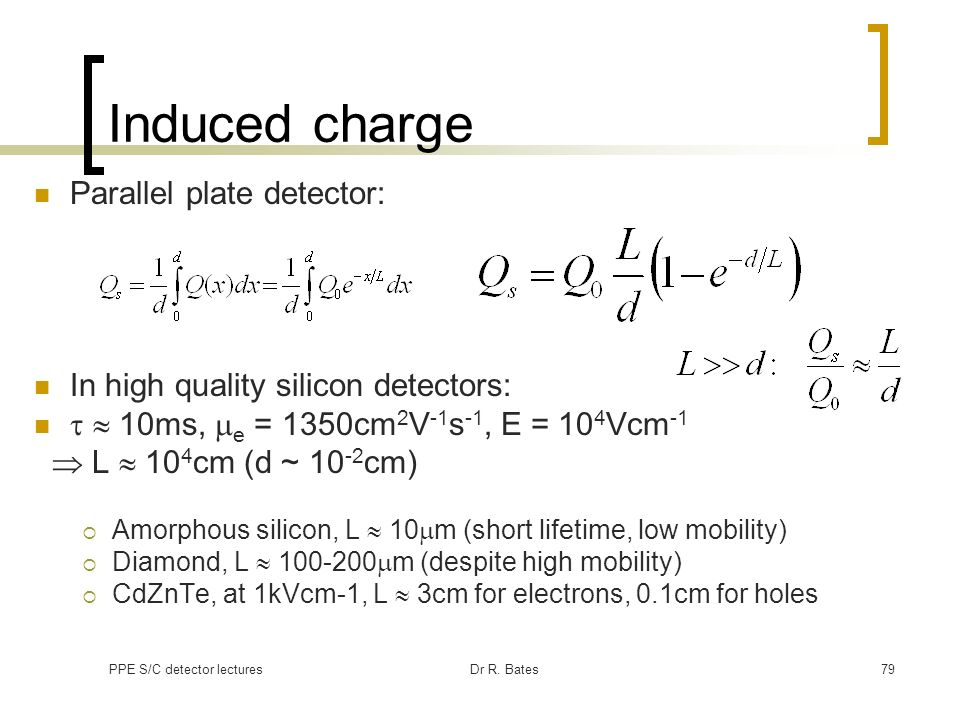 Induced charge Parallel plate detector: