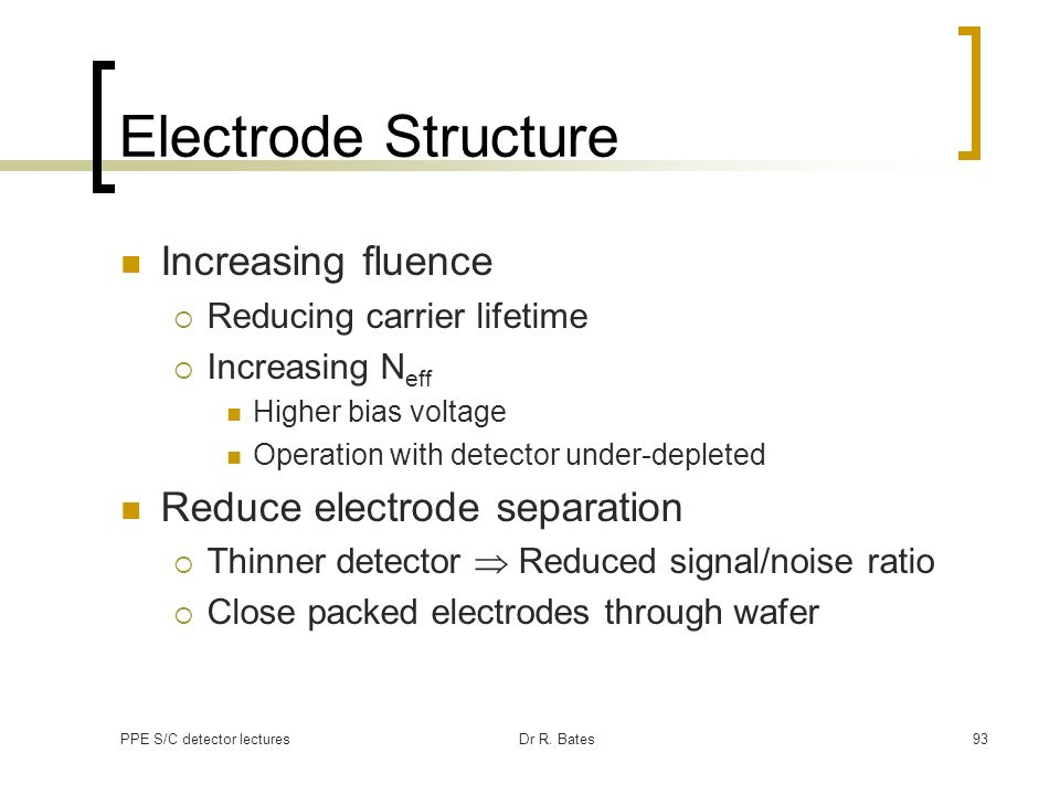Electrode Structure Increasing fluence Reduce electrode separation