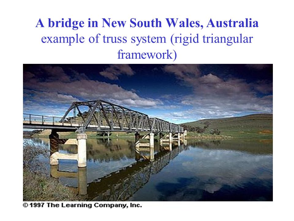 A bridge in New South Wales, Australia example of truss system (rigid triangular framework)