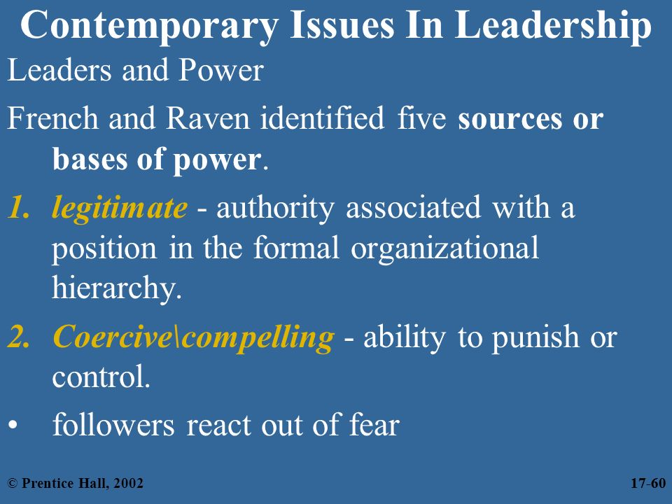 contemporary leadership issues and challenges Analysis of contemporary leadership theories  the leader faces various challenges from the ever  has to plan effectively for the present issues.
