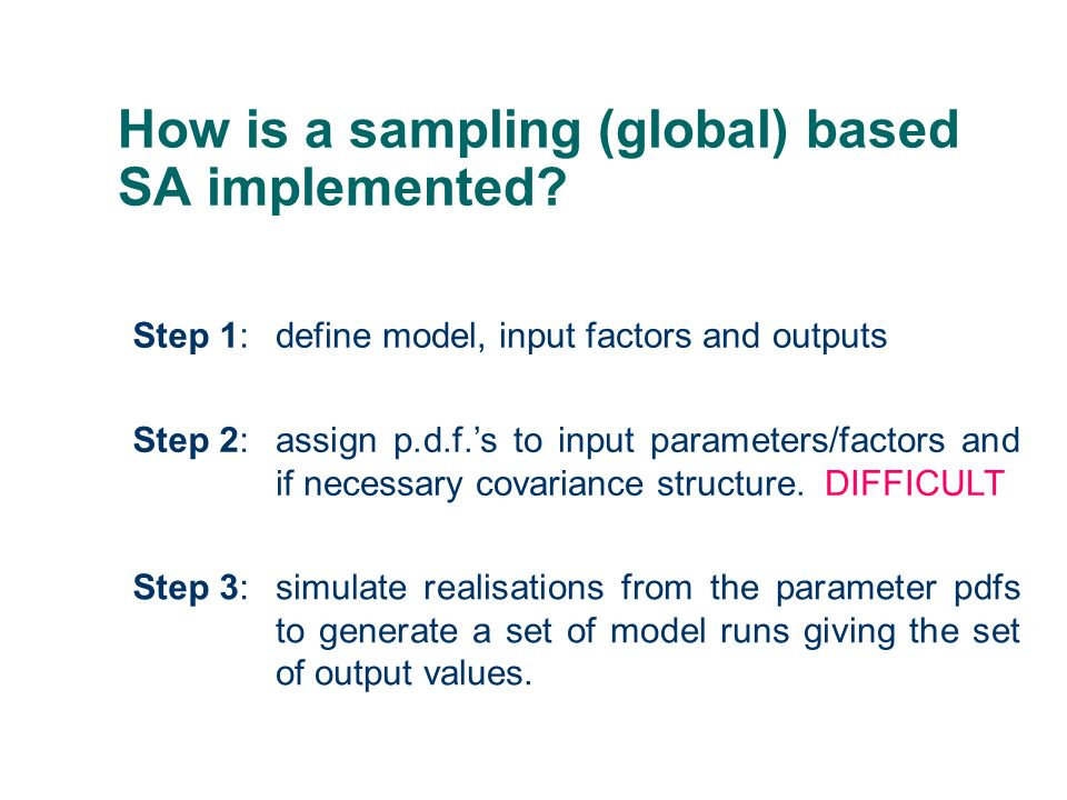 How is a sampling (global) based SA implemented