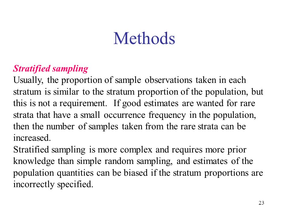 Methods Stratified sampling