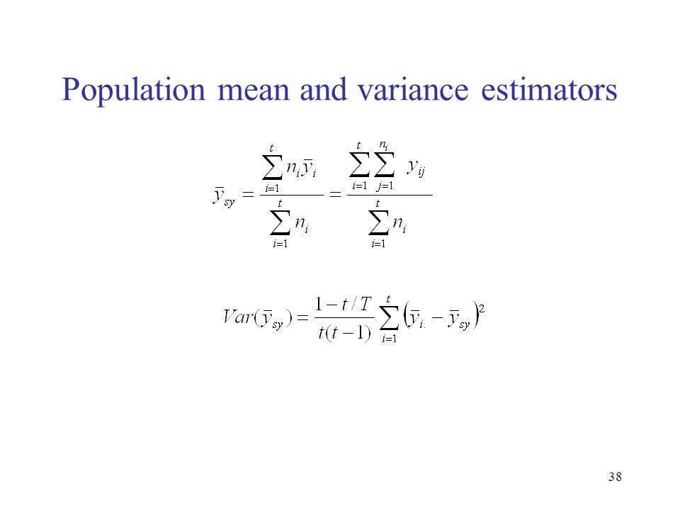 Population mean and variance estimators