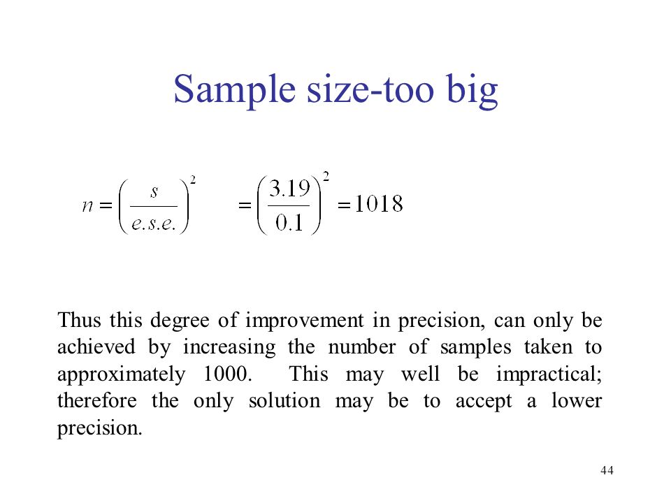 Sample size-too big