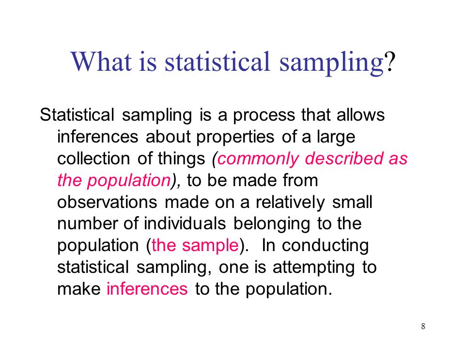 What is statistical sampling