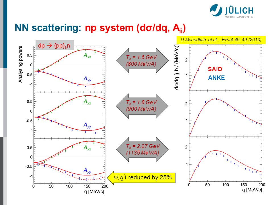 NN scattering: np system (dσ/dq, Aii)