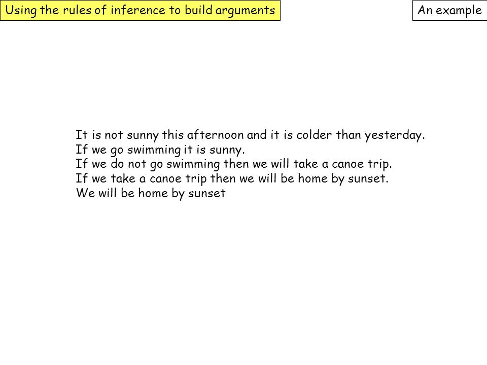 Using the rules of inference to build arguments