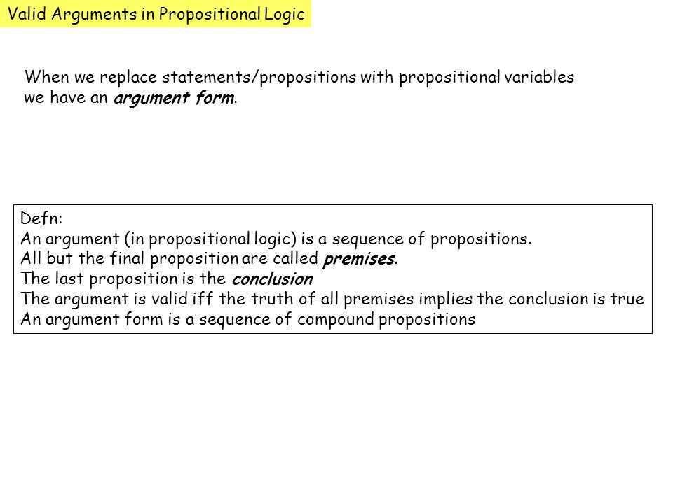 Valid Arguments in Propositional Logic