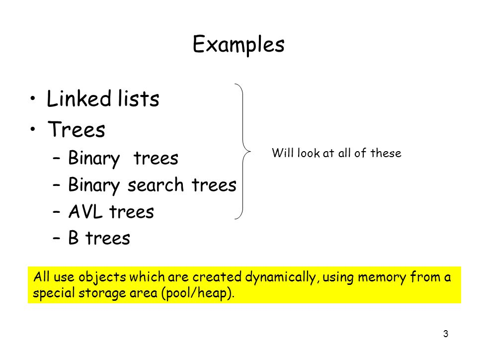 Examples Linked lists Trees Binary trees Binary search trees AVL trees