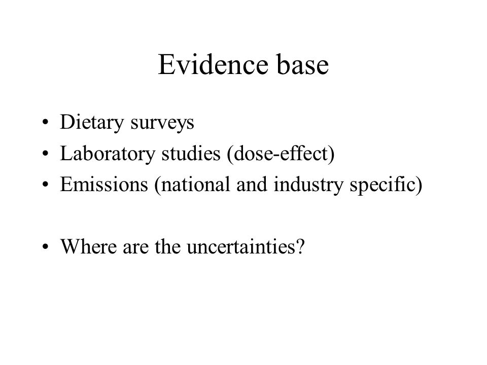 Evidence base Dietary surveys Laboratory studies (dose-effect)