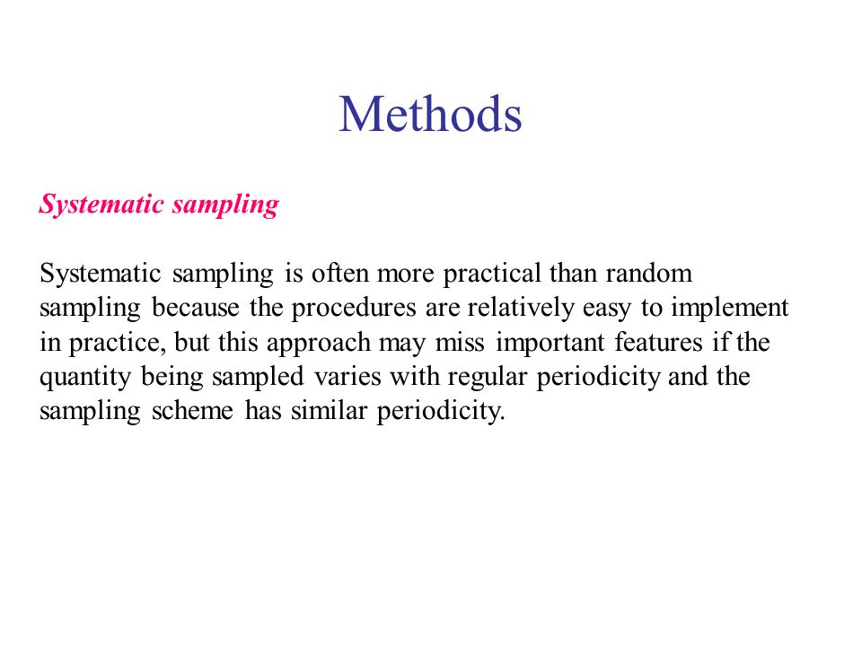 Methods Systematic sampling