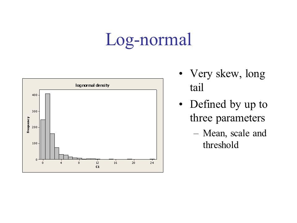 Log-normal Very skew, long tail Defined by up to three parameters