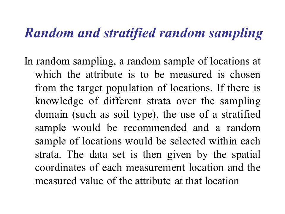 Random and stratified random sampling