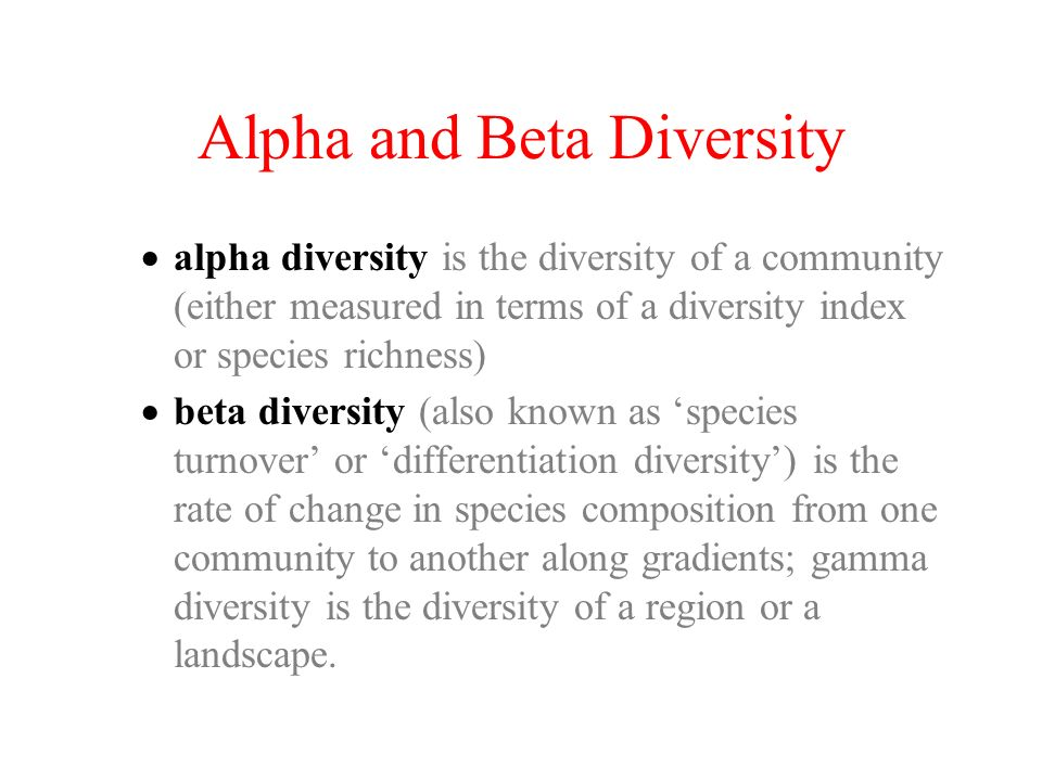 Alpha and Beta Diversity
