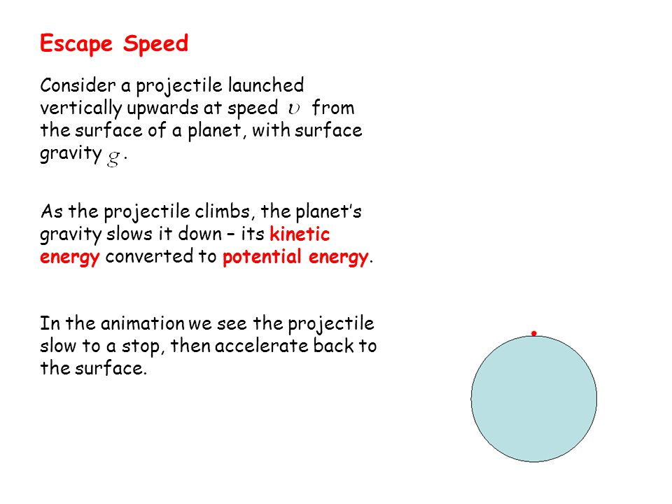 Escape Speed Consider a projectile launched vertically upwards at speed from the surface of a planet, with surface gravity .