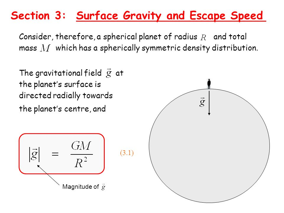 Section 3: Surface Gravity and Escape Speed