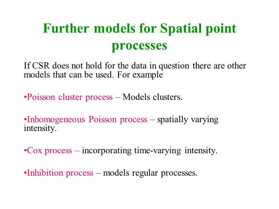 Further models for Spatial point processes