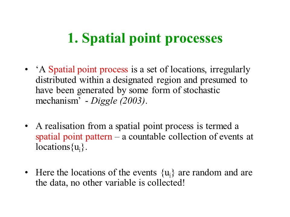 1. Spatial point processes
