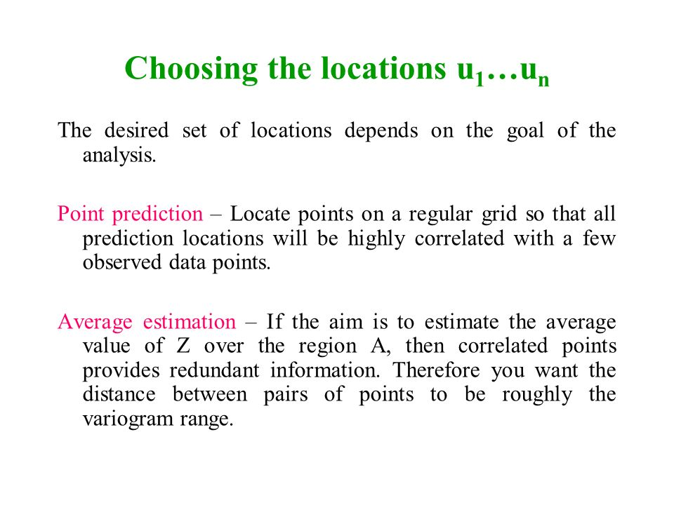 Choosing the locations u1…un