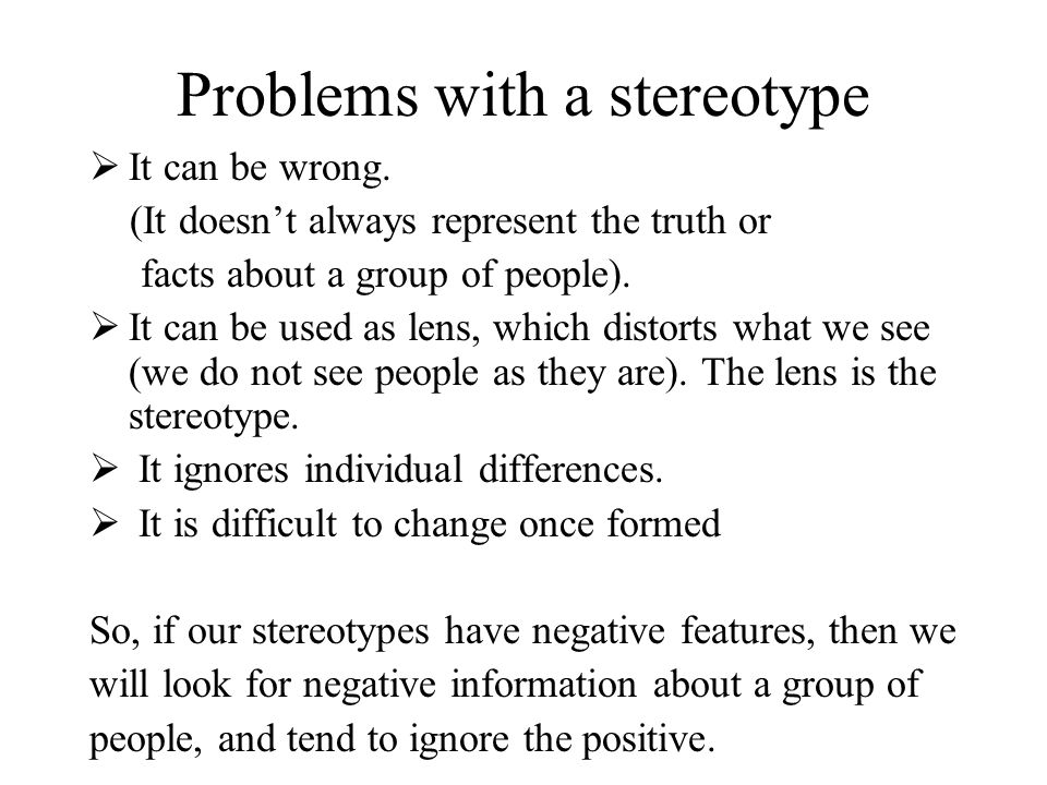 Problems with a stereotype