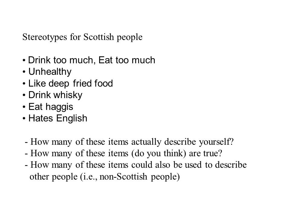 Stereotypes for Scottish people
