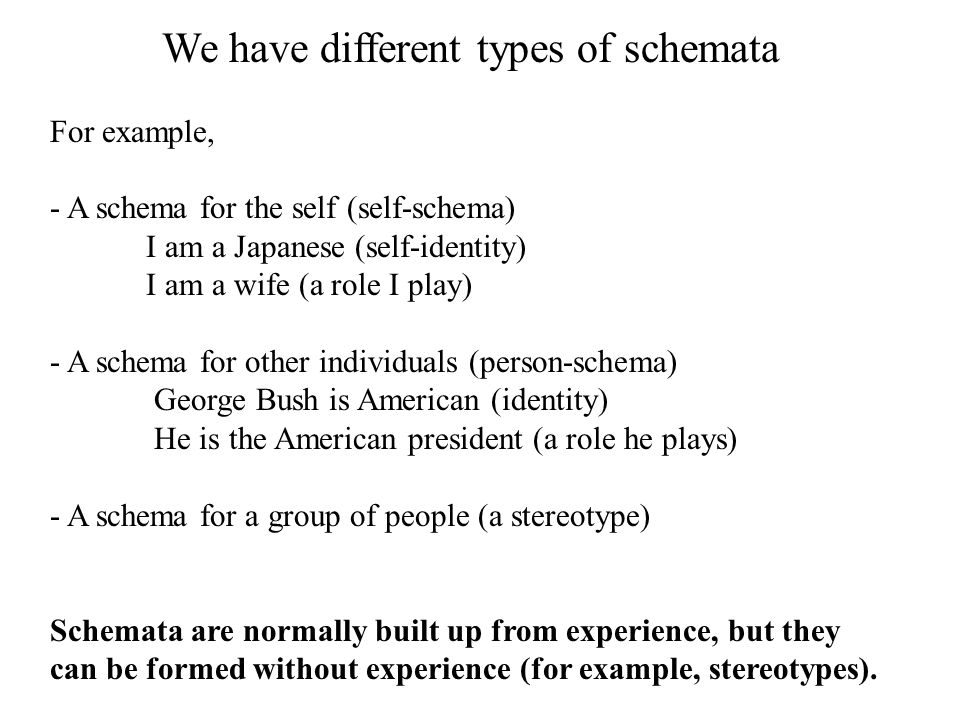We have different types of schemata