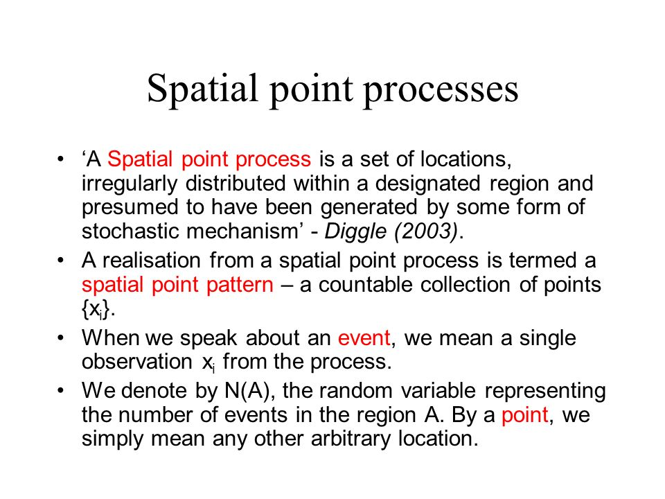 Spatial point processes